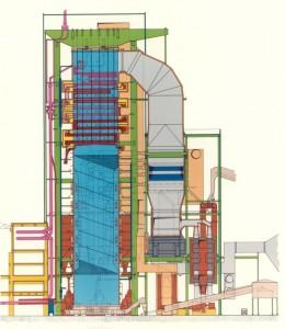 Cross-section of a boiler